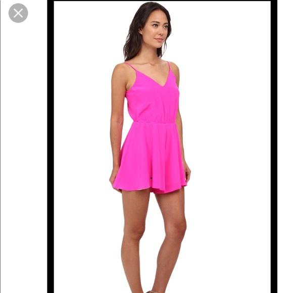 3acb925316ef NWT Amanda Uprichard neon pink silk circle romper